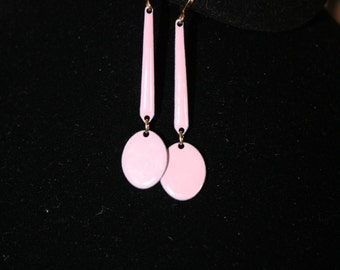 Pink Enamel Screwback Dangle Earrings, Vintage