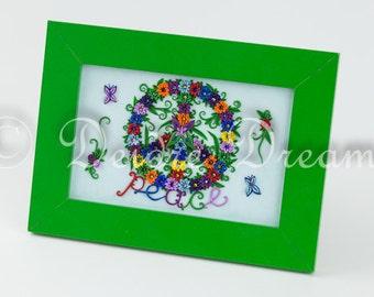 Peace Sign Shadow Box, Hippie Folk Art, Inspirational Art, Flower Shadow Box, Boho Decor, Primitive Peace Wall Art Flower Power Hippie Art