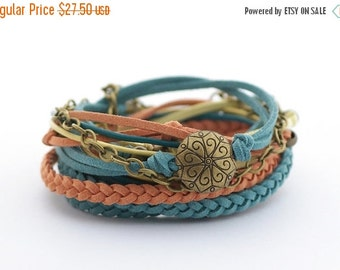 ON SALE Turquoise Denim Yellow Boho Wrap Bracelet, Western Bracelet, Boho Southwest Bracelet, Bohemian Jewelry, gift for her, boho chic