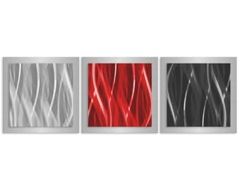 Red Accent Wall Art 'Red Black Silver Essence' - 38x12 in. - Modern Metal Art - Masculine Artwork - Layered Urban Metal Accent Piece