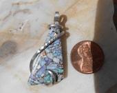 Australian Opal  Silver Wrapped Pendant