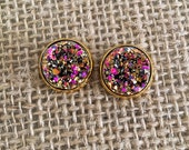 Druzy Studs in Pink and Gold