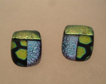 Dichroic Fused Glass Post Earrings - BHS03555