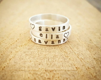 Personalized Stacking Name Ring Set in Sterling Silver