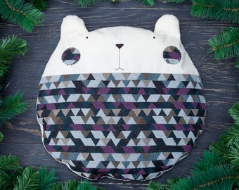 Geometric Bear Pillow Home Décor Animal Pillow Gray Nursery Decor Black Bear Cushion Baby Shower Gift Cute Beanbag Christmas Gifts