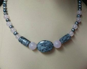 Gray and black pearl necklaces, rose quartz necklaces