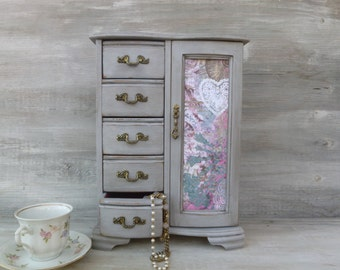 Large Upcycled Paris Grey Distressed Jewelry Box