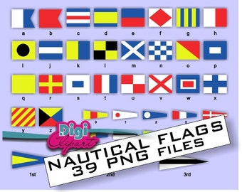 Nautical Flags Alphabet and Numbers Digital File - INSTANT DOWNLOAD