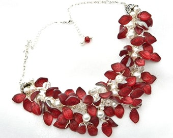Red Statement Necklace, Red Bridal Statement Necklace with leaves, Nature Jewelry,  Red White and Silver Bib Necklace
