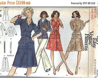 ON SALE Very Easy Vogue 8766 Misses Shirt Dress, Tunic and Pants Pattern, Size 18 UNCUT