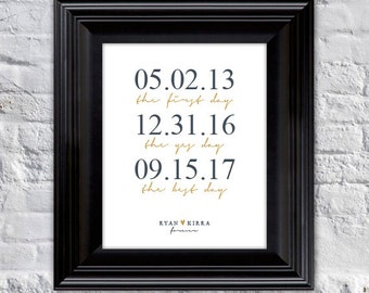Wedding, Bridal Shower - Engagement - Anniversary Gift // personalized - First Day, Yes Day, Best Day