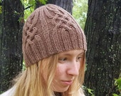 Beanie hat with celtic knot cable, hand knit in tan soft warm washable wool