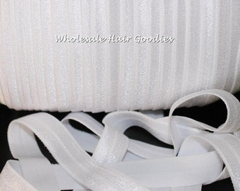 Fold Over Elastic - WHITE 5/8 Inch Fold Over Elastic - FOE - Foldover Elastic - Diy Headband & Hair Tie