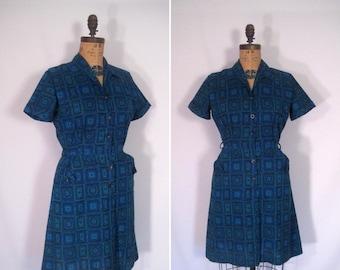 15% off sale : 1950s medallion print dress • 50s blue print shirtwaist day dress • vintage once upon a time dress