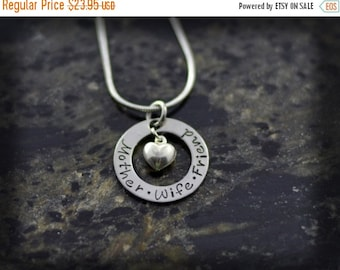 20% OFF - Engraved Washer Necklace with Sterling Silver Heart