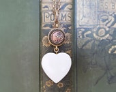 Creamy White Heart Pendant Long Necklace Heart, Anniversary Gift, Antique Picture Button Necklace, Antique Button Jewelry veryDonna