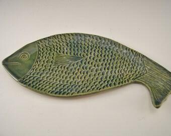 Ceramic fish soap dish, pottery fish spoon rest, stoneware fish trinket dish, ceramic fish decor