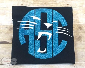 Carolina Panthers Monogrammed T-Shirt with Glitter (Babies & Children's)