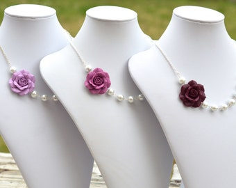 FREE EARRINGS Lilac, Dusty Plum and Eggplant Rose Asymmetrical necklace. Flower Rose Necklace