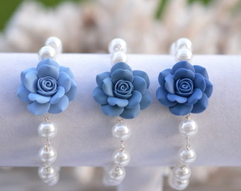 1 pcs of Dusty Blue Palette Rose Link Bracelet. Dusty Blue Rose Bridesmaid Bracelet.