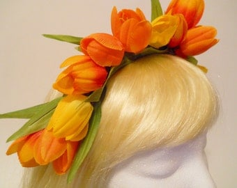 Tulip Flower Crown Easter Flower Orange Yellow Tulips Headband Holland Amsterdam Kings Day Spring Weddings Flower Girl Headdress Parade Elf