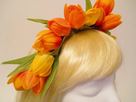 Tulip Flower Crown Easter Flower Orange Yellow Tulips Headband Holland Amsterdam Kings Day Spring Weddings Flower Girl Headdress Parade Elf
