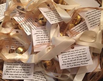 Wedding Kissing Bells, Wedding Bell Favor, Personalized Seed Envelope, Unique Wedding Favor, 3 Jingle Bells Double Satin Ribbon