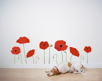 Poppies Printed Wall Decal -Poppies Decal, Flower Wall Sticker, California Poppies, Nature Wall Decal, Floral Decor, Poppies Decor