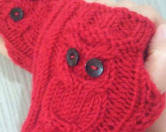 Owl Gloves, Knitting Owl Fingerless Gloves, Mittens, Fingerless Gloves, Christmas Gifts, Women Accessories