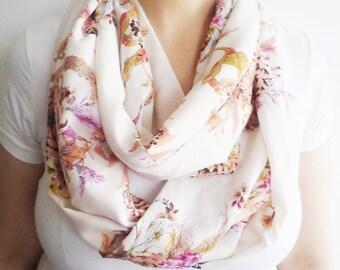 Floral Scarf, Circle Scarf, Scarves, Cotton Scarf, Women Scarf, Fashion Scarf, Handmade Gifts, Fall Scarf