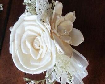 Wedding, Corsage, Sola  Wood Corsage,Corsage,Vintage Pin On corsage, Sola Bouquet