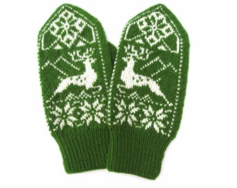 Hand knitted wool mittens,Scandinavian glove,green white mittens,snowflake arm warmers,winter glove,Christmas gift for men,fashion accessory