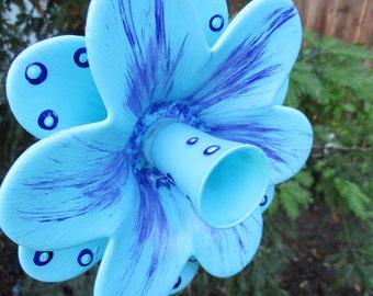 Glass Flower Garden Art Hand Painted Turquoise Blue & Purple- Garden Decor - Garden Sculpture - Outdoor Decor - Garden Gift