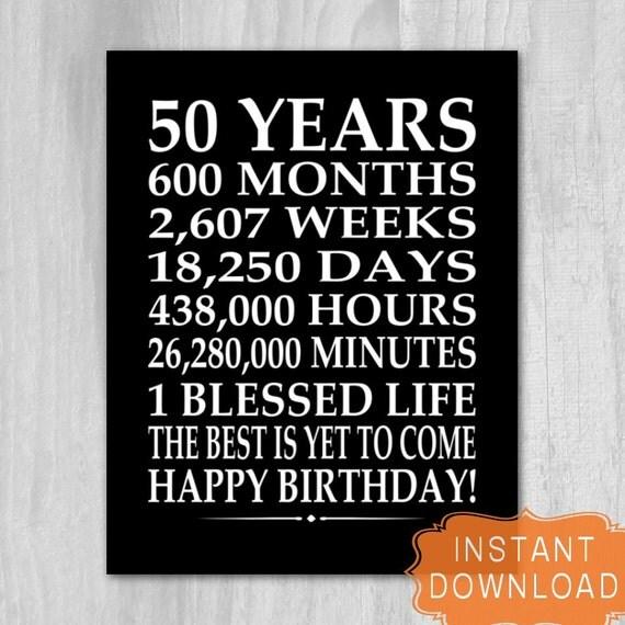 50th Birthday Sign Digital File Instant Download Birthday