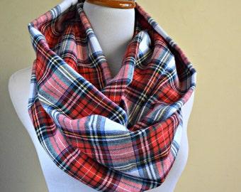 Plaid scarf,  Red winter Scarf, Plaid flannel scarf