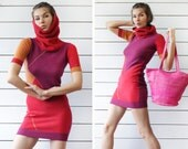 BENETTON Vintage red pink wool knit short sleeve large cowl collar hip length tunic sweater mini dress