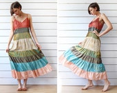Vintage color stripe block patchwork tiered long summer beach maxi dress M L