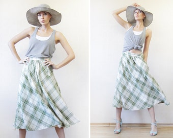 Vintage green white plaid full pleated high waist tea length midi skirt M