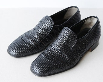 BALLIN vintage Italian hand made braided black leather leisure loafer summer shoes Size 8