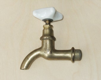 Vintage Soviet Gold Tone Water Faucet, Brass Water Tap, Spigot with White Ceramic Handle