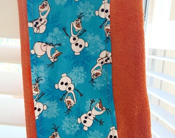 """Olaf From """"Frozen"""" Children's Hooded Bath Towel, Orange or Bright Blue Towel"""