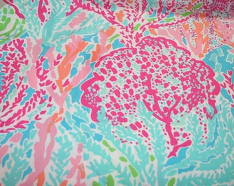 Lilly Pulitzer  signature fabric Lets Cha Cha cotton 6 X 6 inches , 9 X 18 inches or 18 X 18 inches