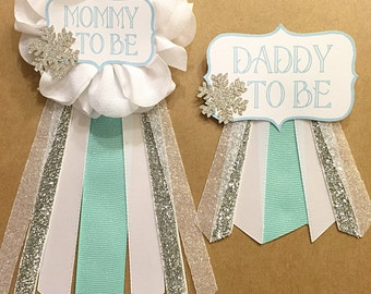 Silver Teal Aqua Snowflake Baby Shower corsage pin Baby Its Cold Outside baby shower pin mommy to be pin Flower Ribbon Glitter Mommy New Mom