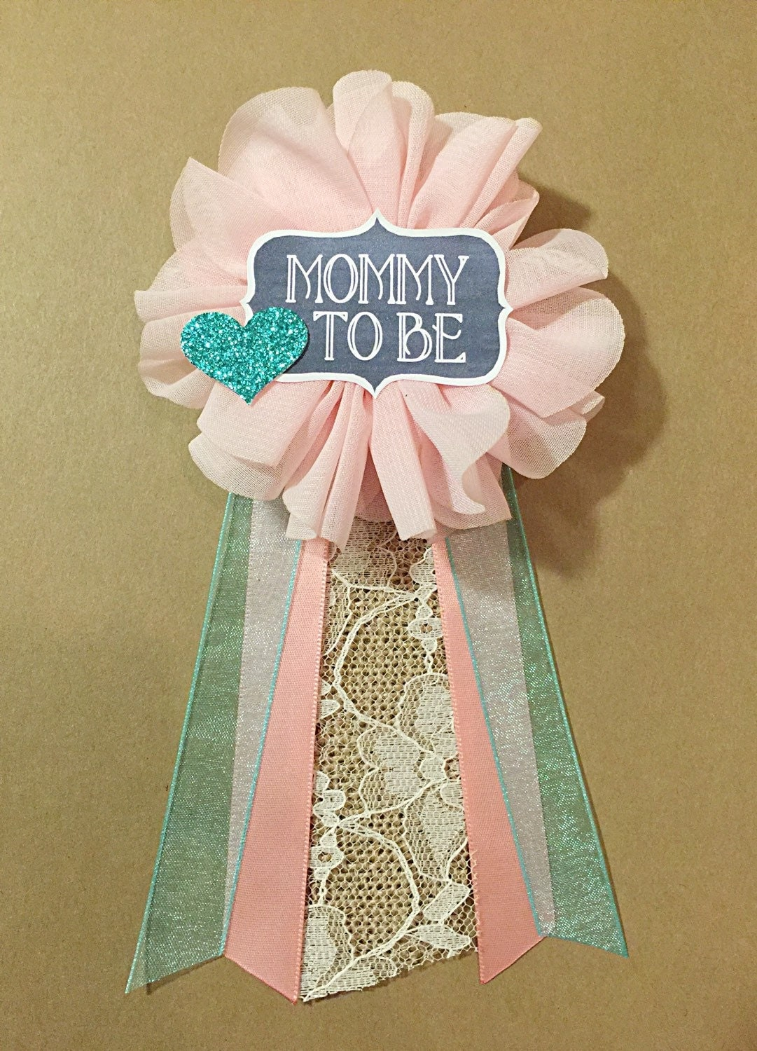 pink ivory lace teal baby shower pin mommy to be pin flower