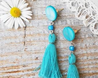 Blue Tassel Earrings, Tassel Stud Earrings with blue Tablet Pearl Beads, Tassel jewelry, Bohemian earrings, Hippie tassel earrings, Boho