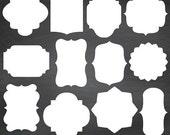 70% SALE Basic White Frames, Basic Digital Labels, Digital Clipart, Digital Scrapbooking Frames, White Labels, png & eps - INSTANT DOWNLOAD