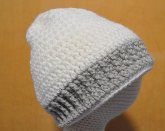 White Child Hat, Crocheted Hat, Child Size Hat