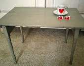 Antique Depression Era Child's Sage Green Wood Folding Table Primitive Tea Time Party Kids Room or for Show Room Wooden Booth Display