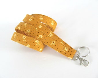 Lanyard Keychain, ID Badge Lanyard Autumn Gold Badge Holder