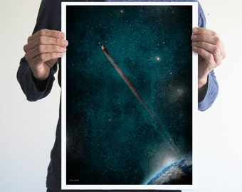 Superman in space,poster,space,comics,digital print,art,stars,geek,home decor